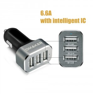 Omaker Intelligent 6.6A USB Car Charger